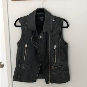 Topshop faux leather moto vest